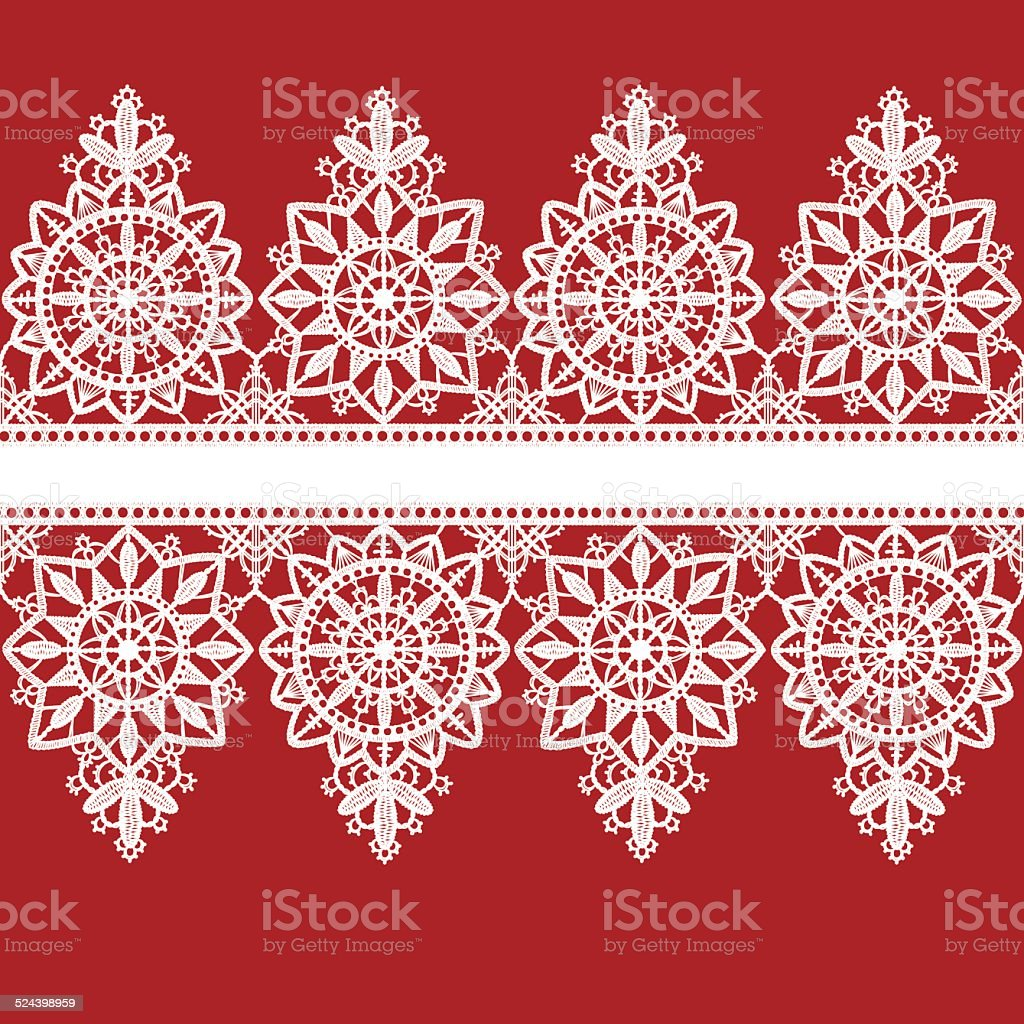 Lace seamless pattern ornate ribbon vector art illustration