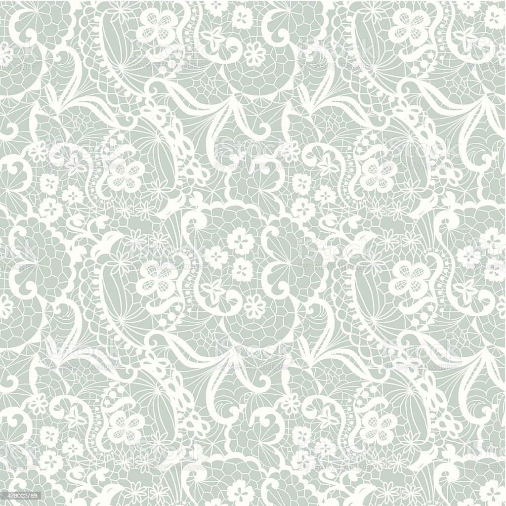Lace seamless pattern with flowers vector art illustration