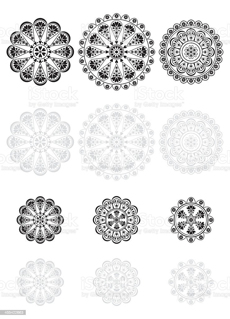 Lace Vector Icon Set vector art illustration