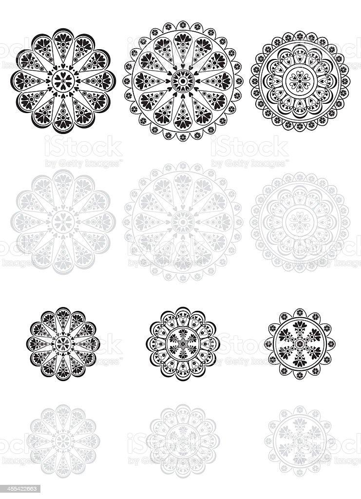 Lace Vector Icon Set vector art illustration