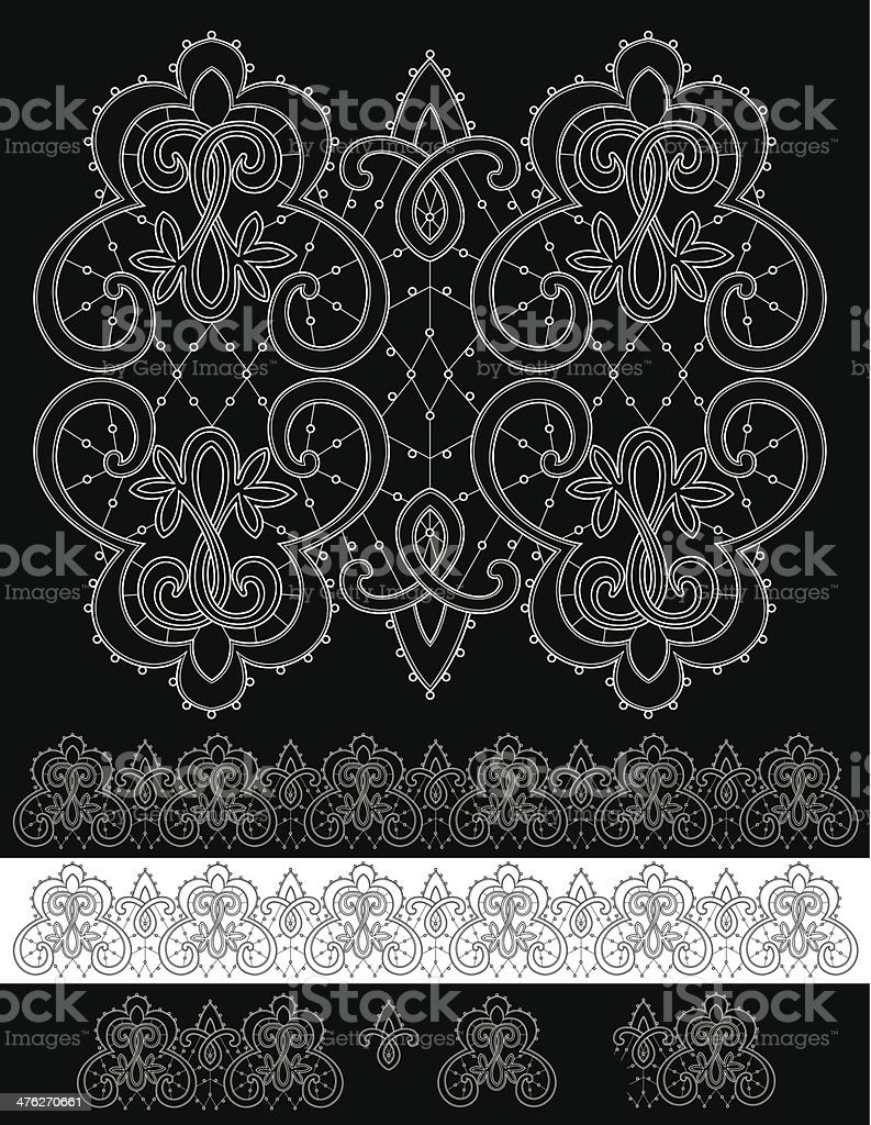 Lace Vector Illustration Design Black and White  Renaissance royalty-free stock vector art