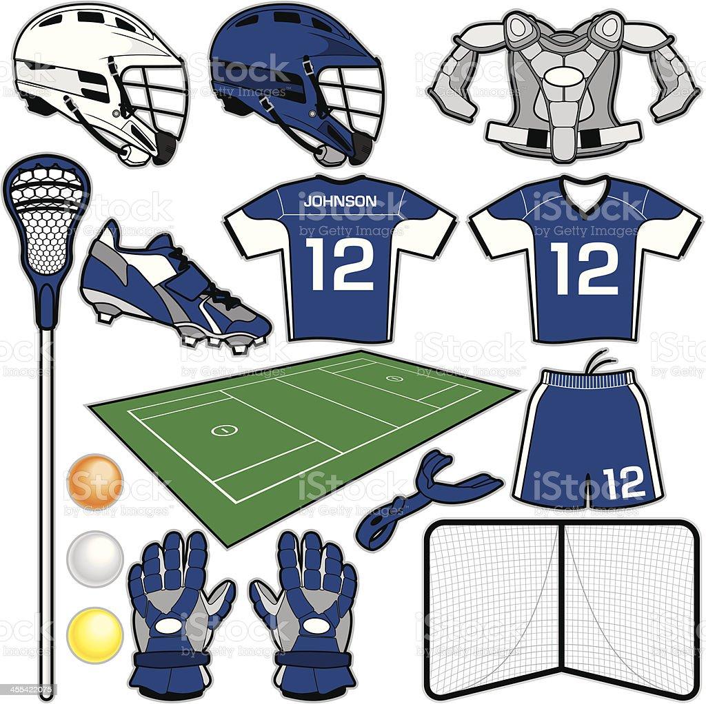 Lacrosse Items vector art illustration