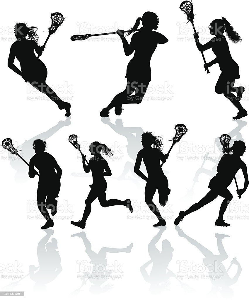 Lacrosse Offense - Girls vector art illustration