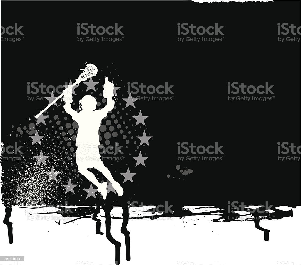 Lacrosse Player All-Star Background - Boys royalty-free stock vector art