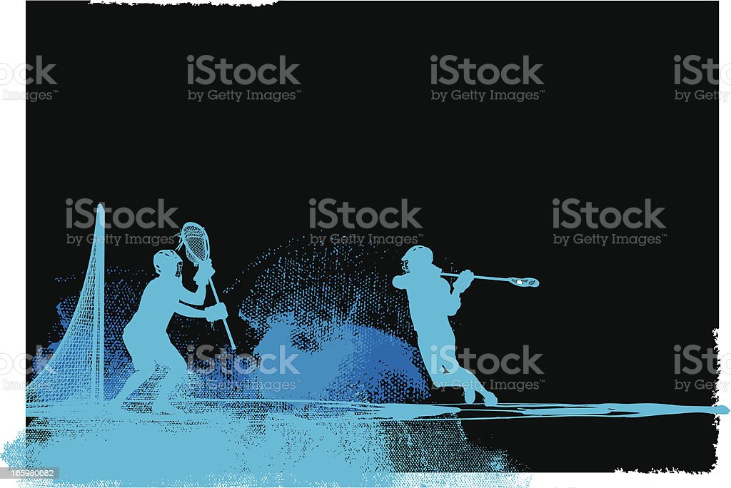 Lacrosse Player and Goalie Background royalty-free stock vector art