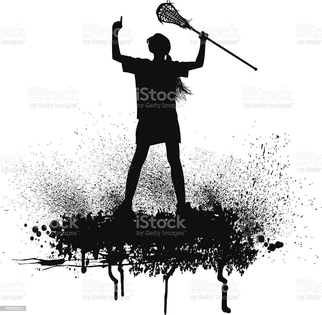 Lacrosse Player Victory Celebration - Girls royalty-free stock vector art