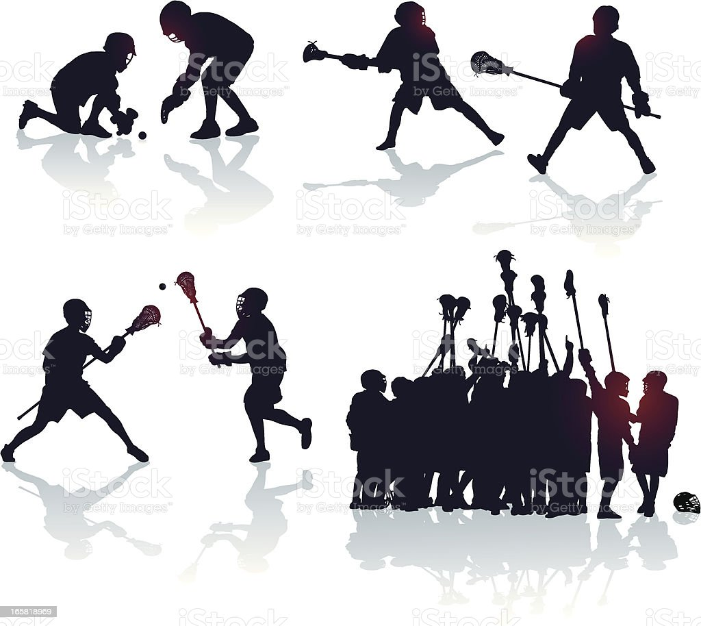 Lacrosse Players and Team Victory royalty-free stock vector art