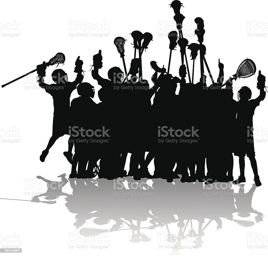 Lacrosse Players Cheering and Number One royalty-free stock vector art