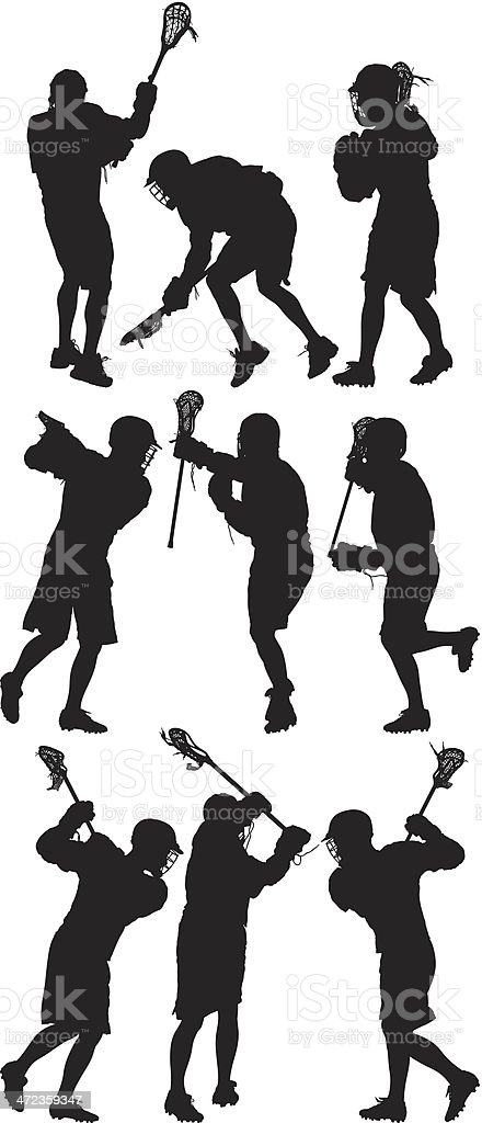 Lacrosse players in action royalty-free stock vector art