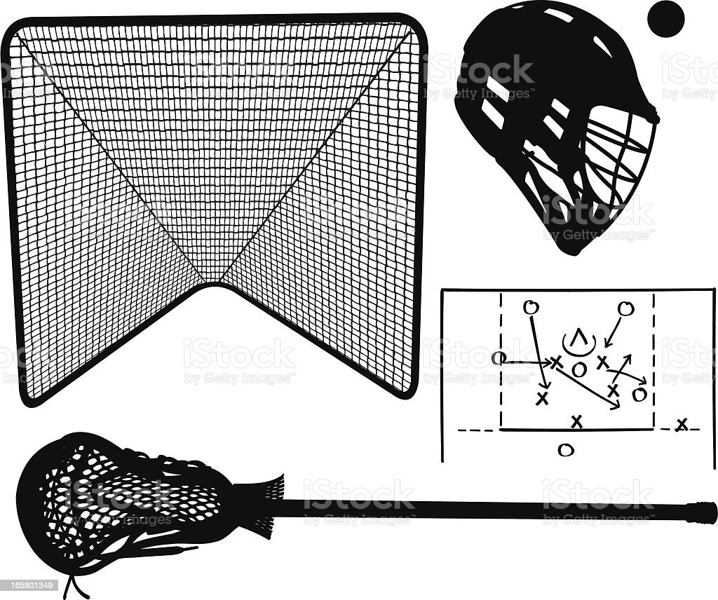 Lacrosse Stick, Equipment and Play royalty-free stock vector art