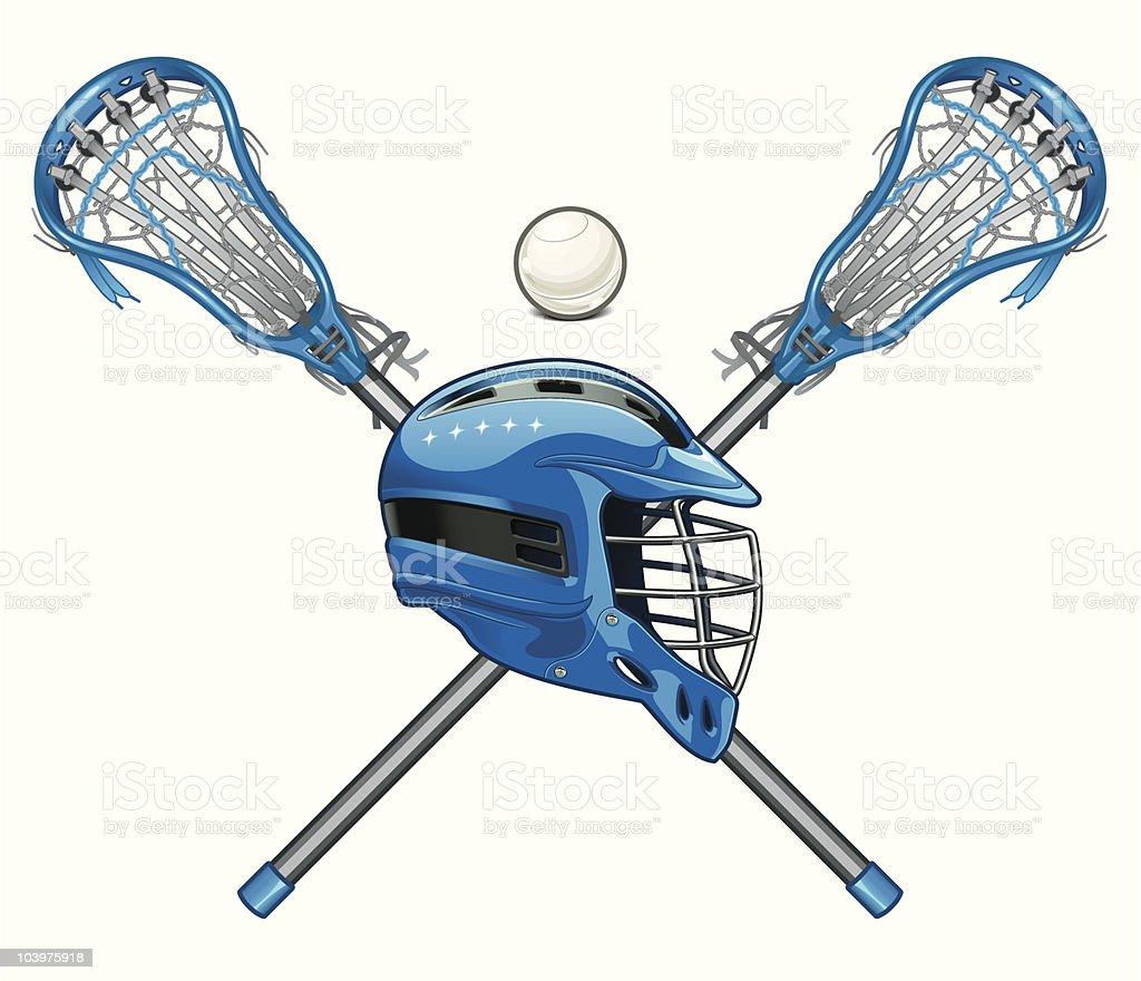 Lacrosse Sticks and Helmet royalty-free stock vector art