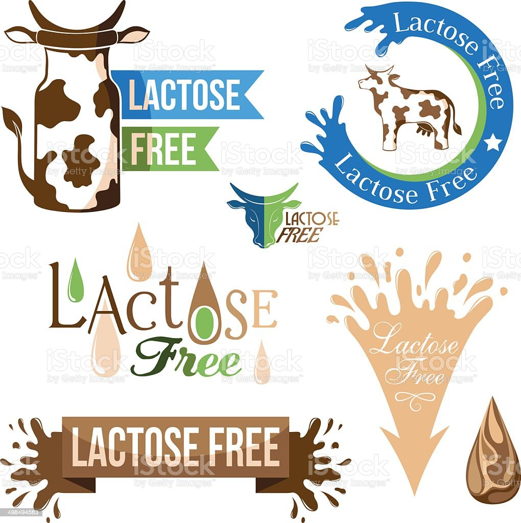 Lactose free elements vector art illustration