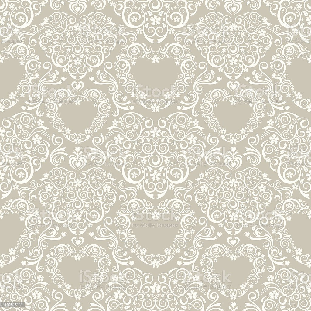 Lacy Hearts Seamless Pattern vector art illustration