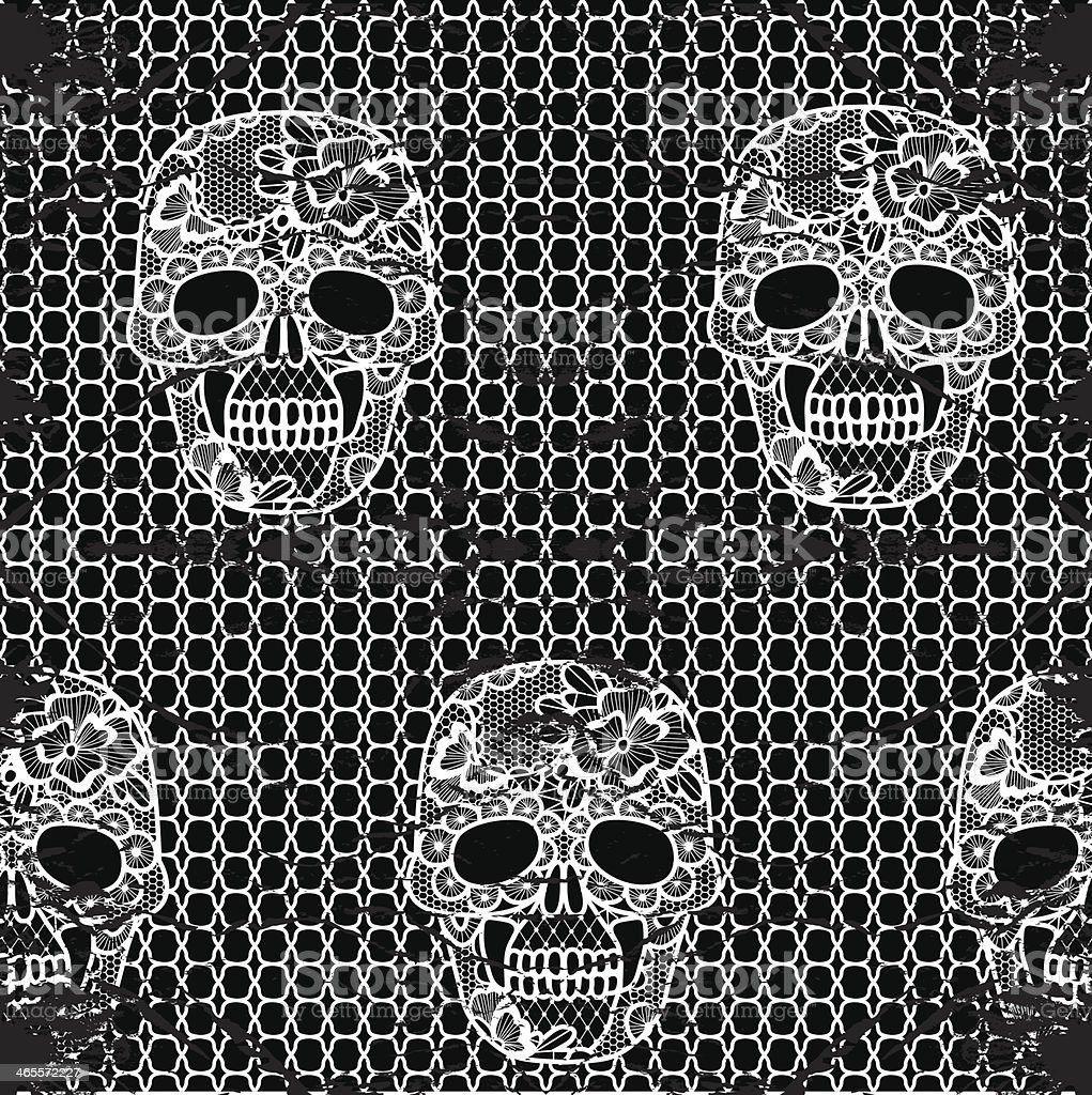 Lacy skull and mesh. royalty-free stock vector art