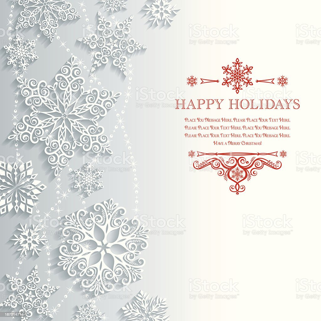 Lacy Snowflake Background vector art illustration