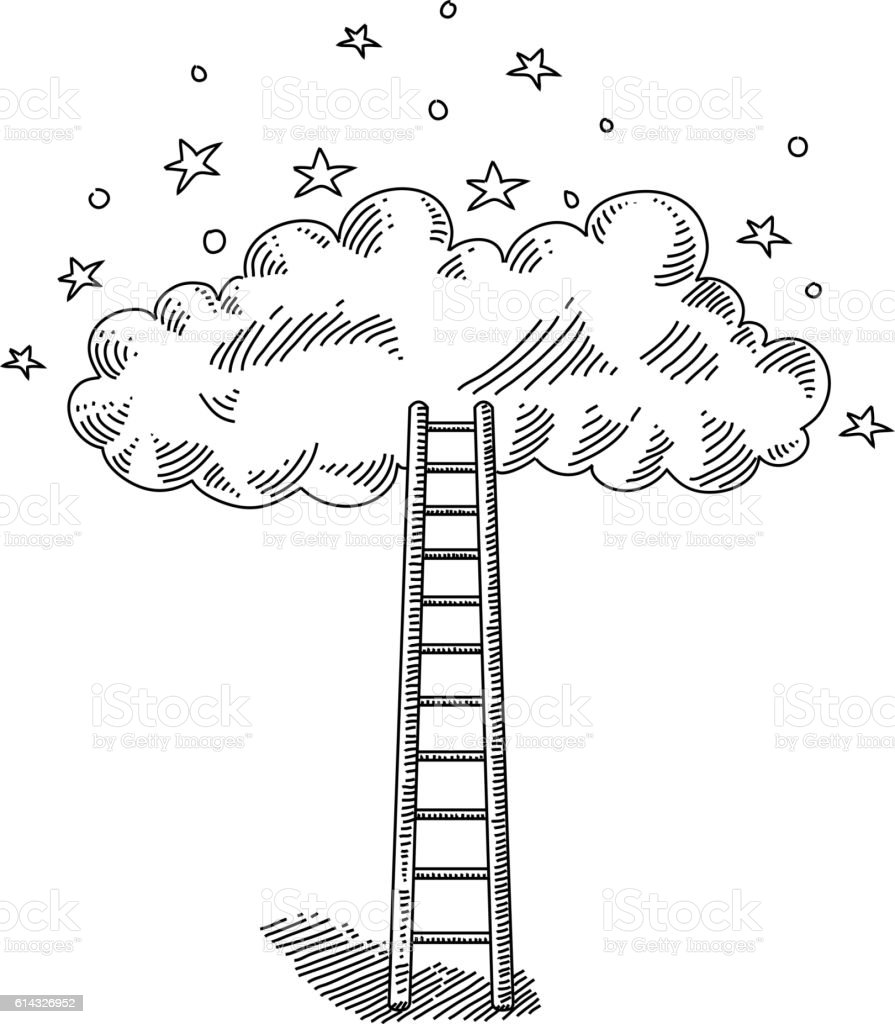 Ladder and Cloud Drawing vector art illustration