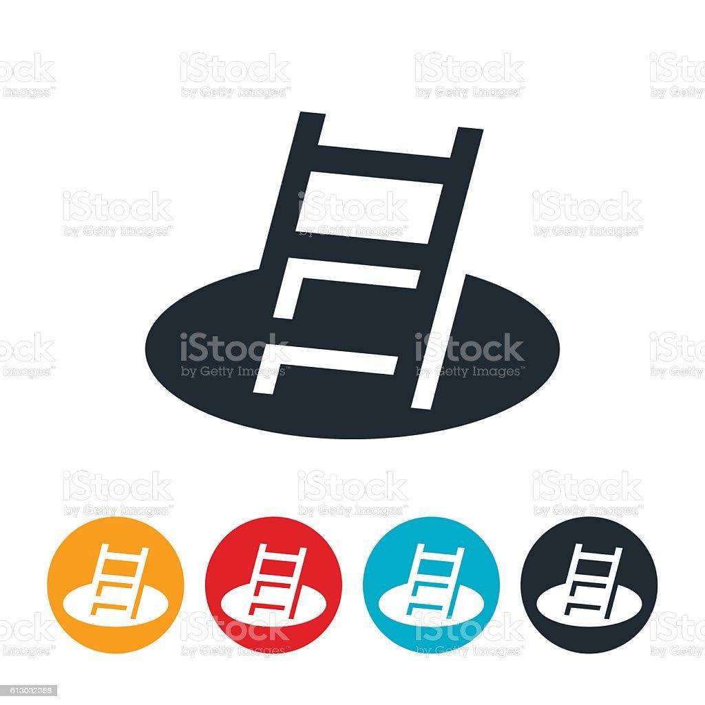 Ladder In Pit Icon vector art illustration