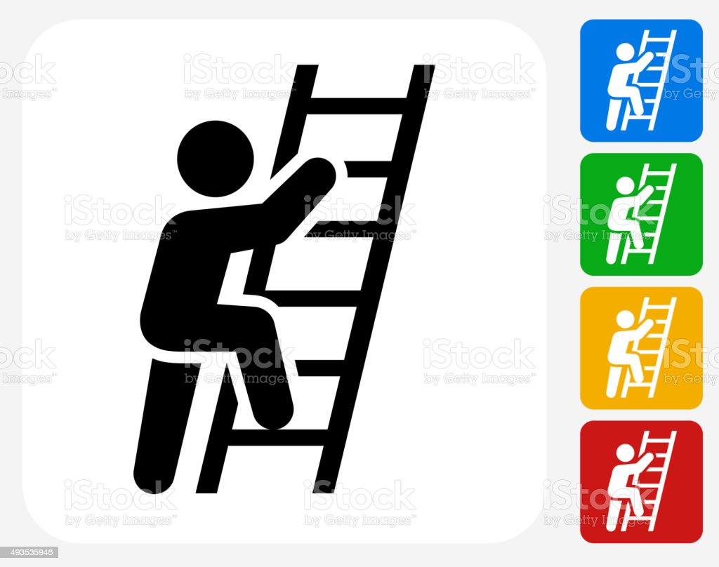 Ladder Of Success Icon Flat Graphic Design vector art illustration