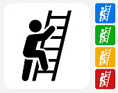 Ladder Of Success Icon Flat Graphic Design
