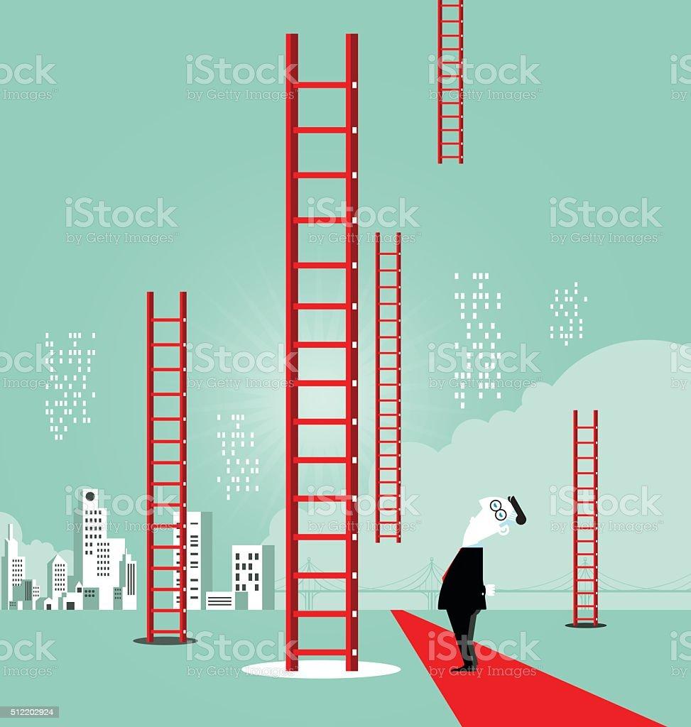 Ladder to success vector art illustration