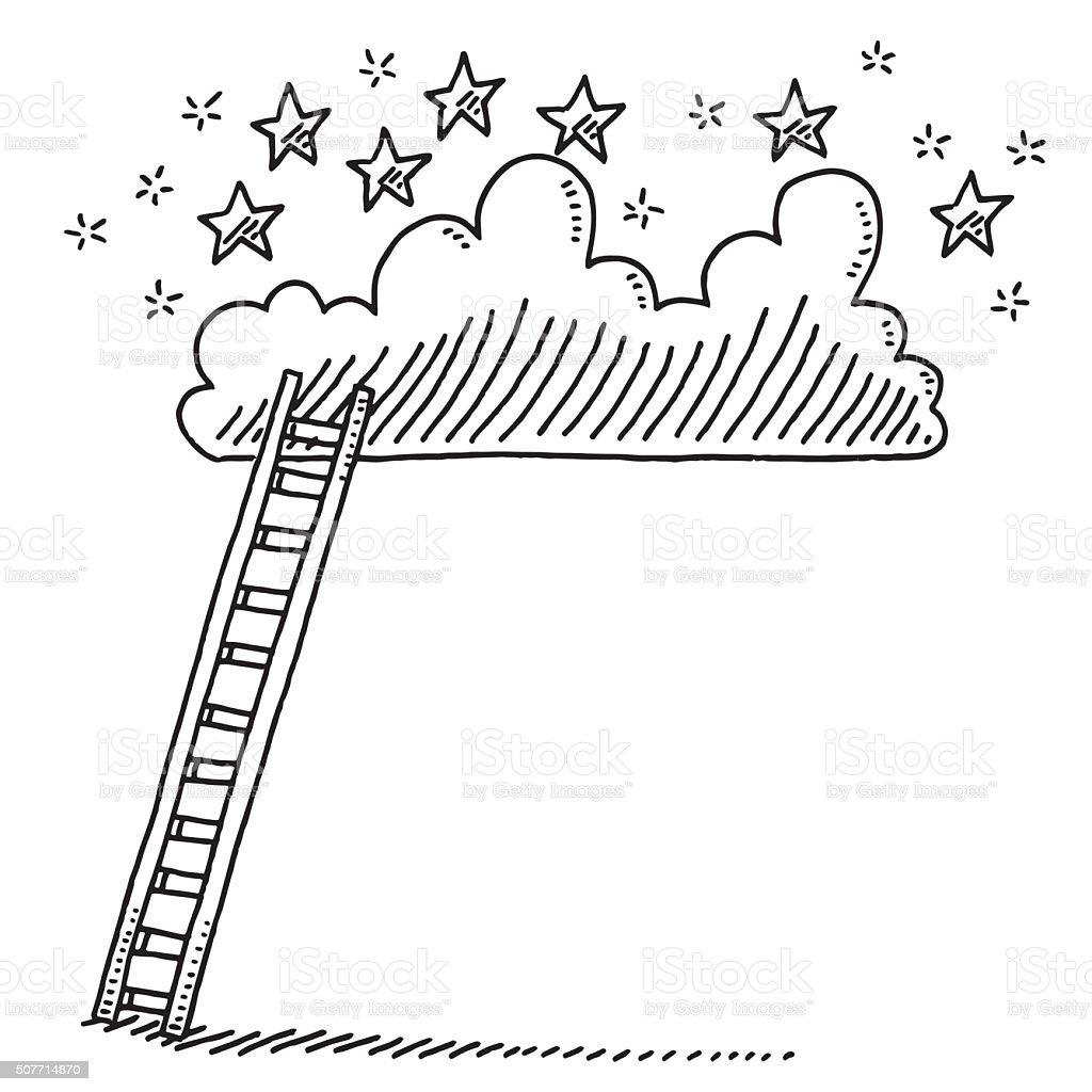 Ladder Up To A Cloud With Stars Drawing vector art illustration