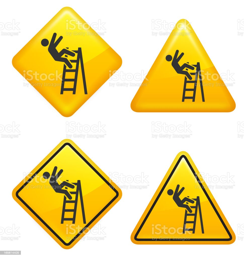 Ladder Warning and Caution Street Signs royalty-free stock vector art