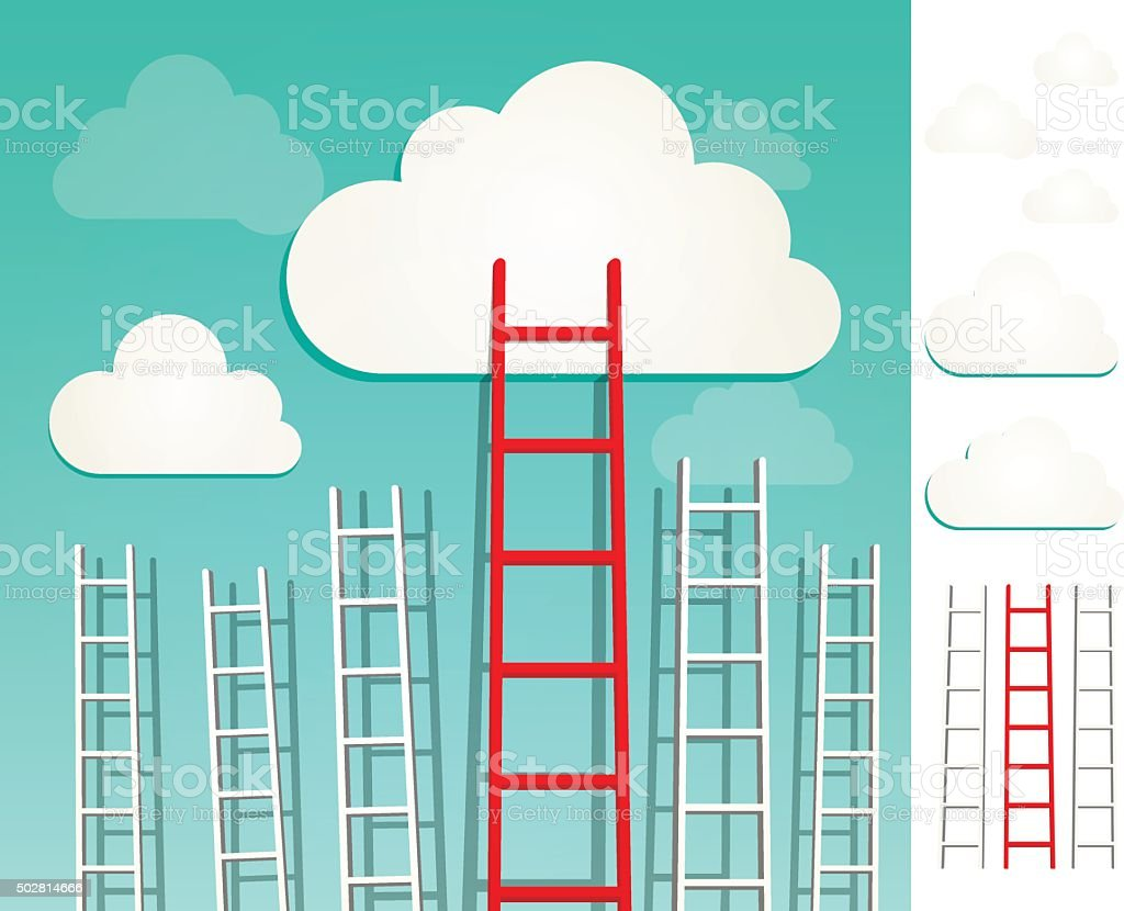 Ladders to the clouds concept set vector art illustration