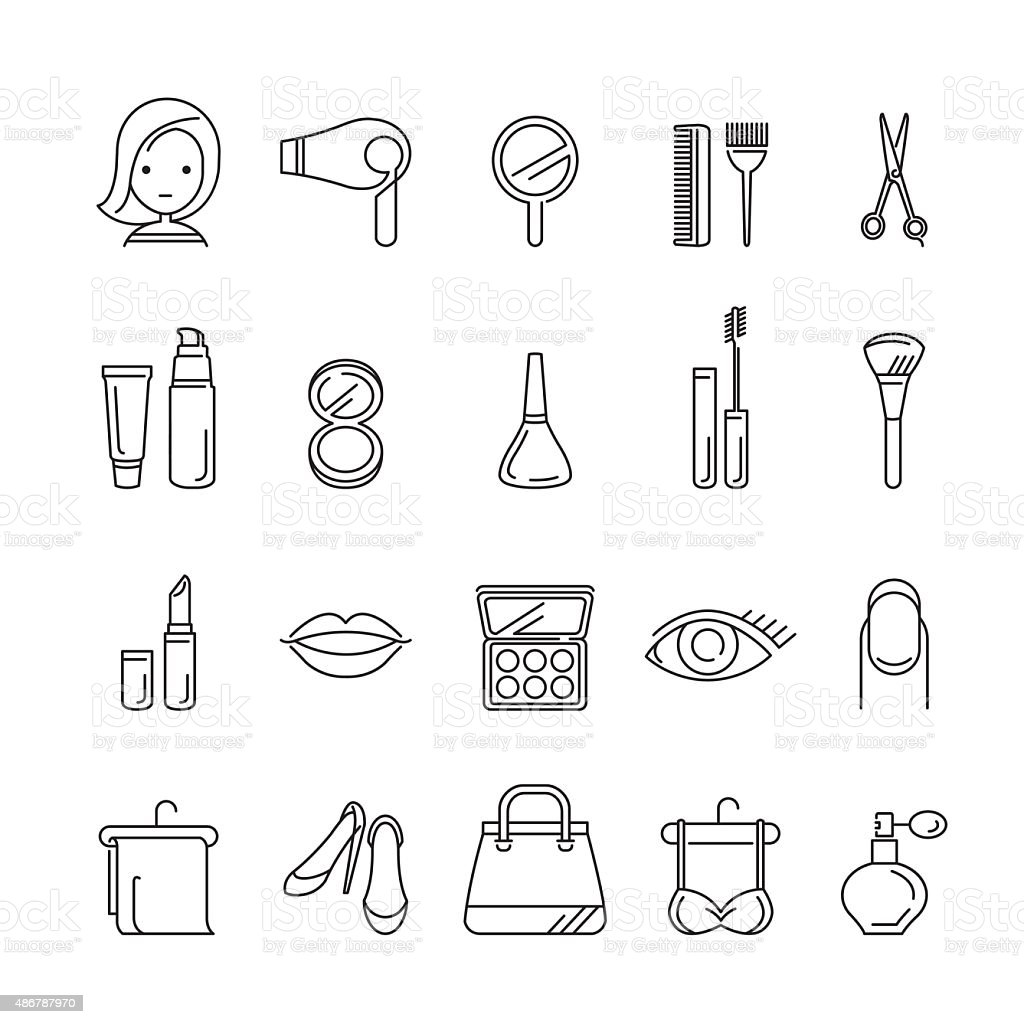 Ladies fashion, cosmetics and  beauty linear icons set vector art illustration