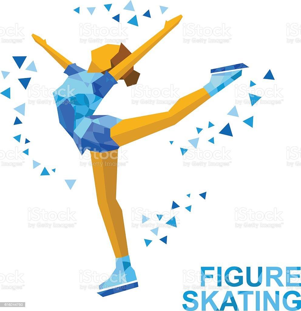 Ladies Figure Skating. Cartoon skating girl training. Ice show. vector art illustration