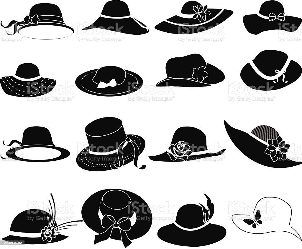 Ladies hat icons set vector art illustration