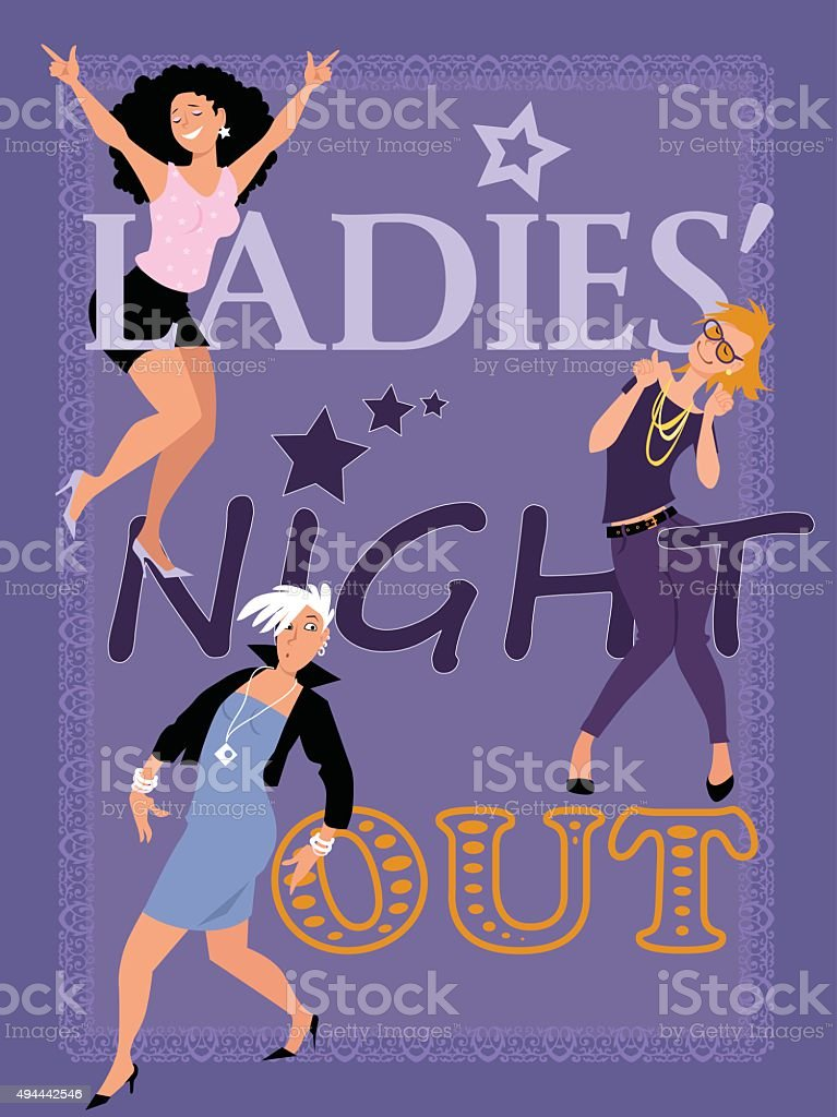 Ladies' Night Out card vector art illustration