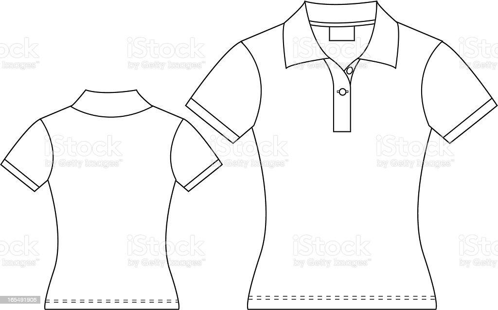 Ladies Polo Shirt vector art illustration
