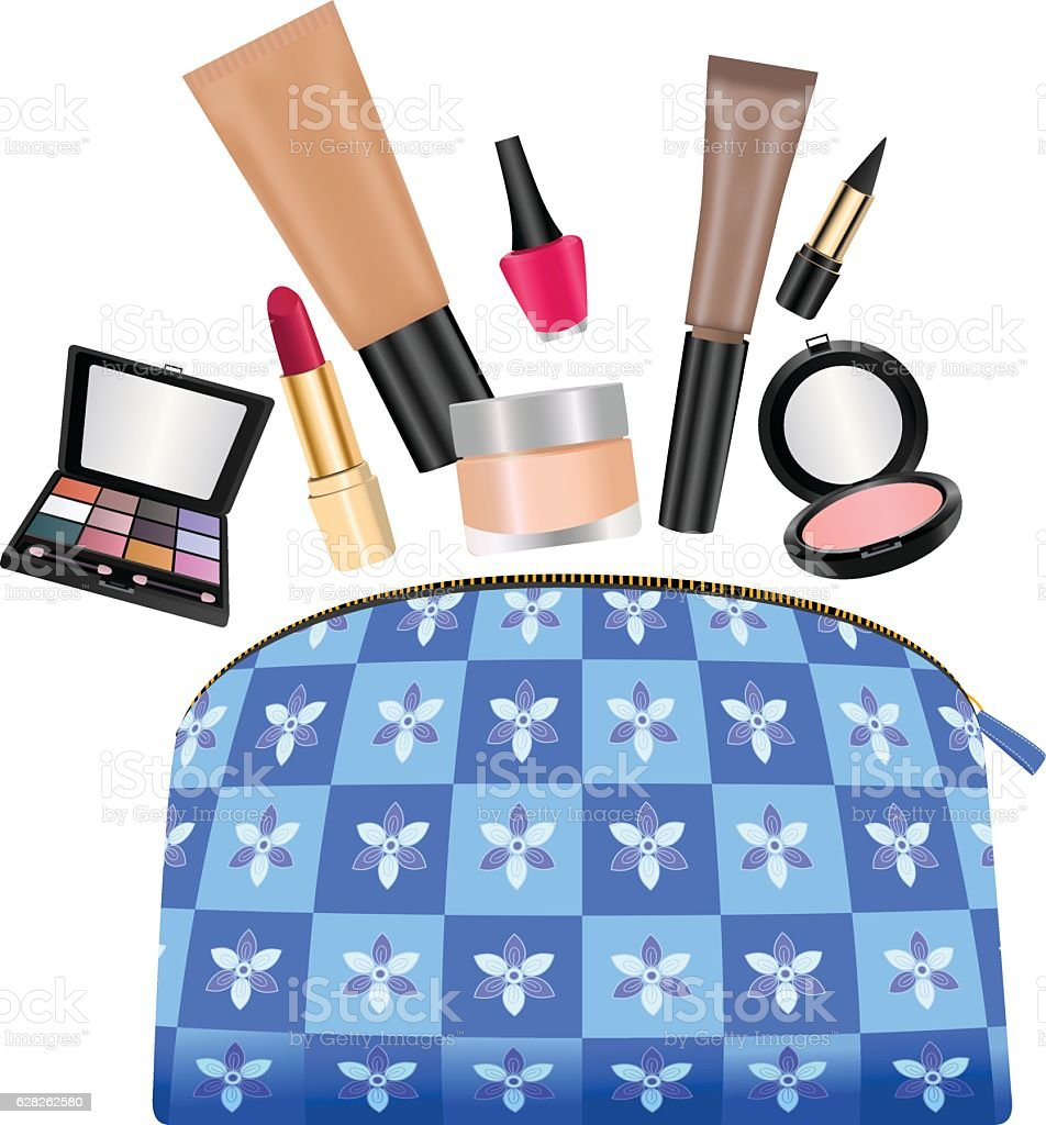 Ladies Purse With Cosmetics vector art illustration
