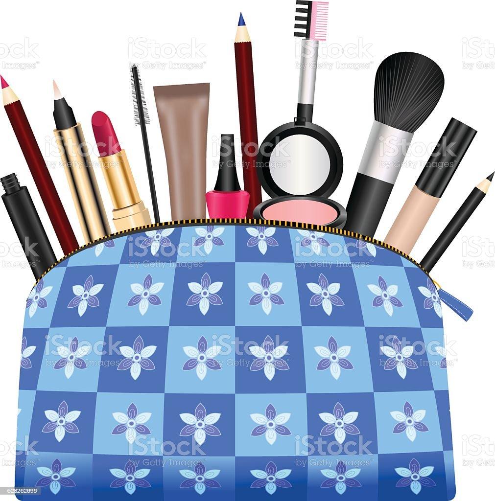 Ladies Purse With Cosmetics vector art illustration