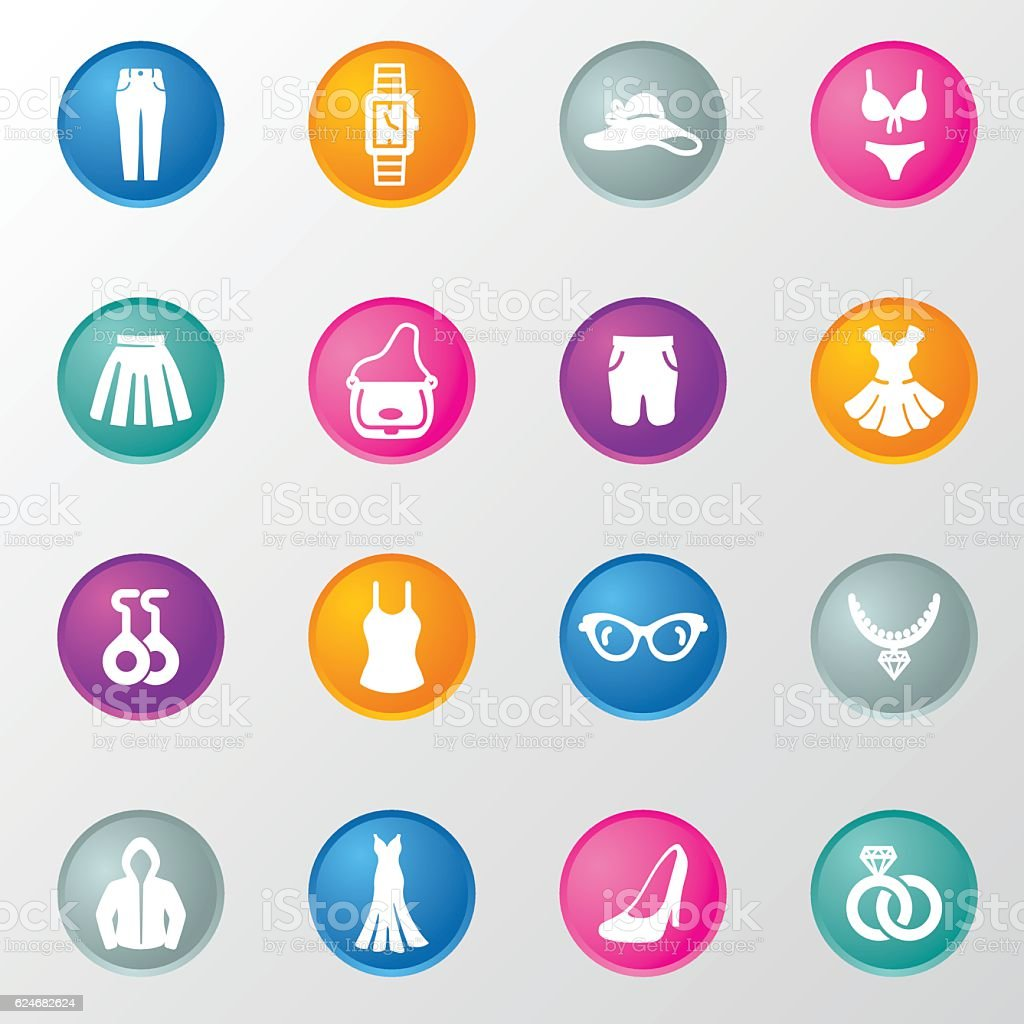 Ladies Shopping Circle Color Icons vector art illustration