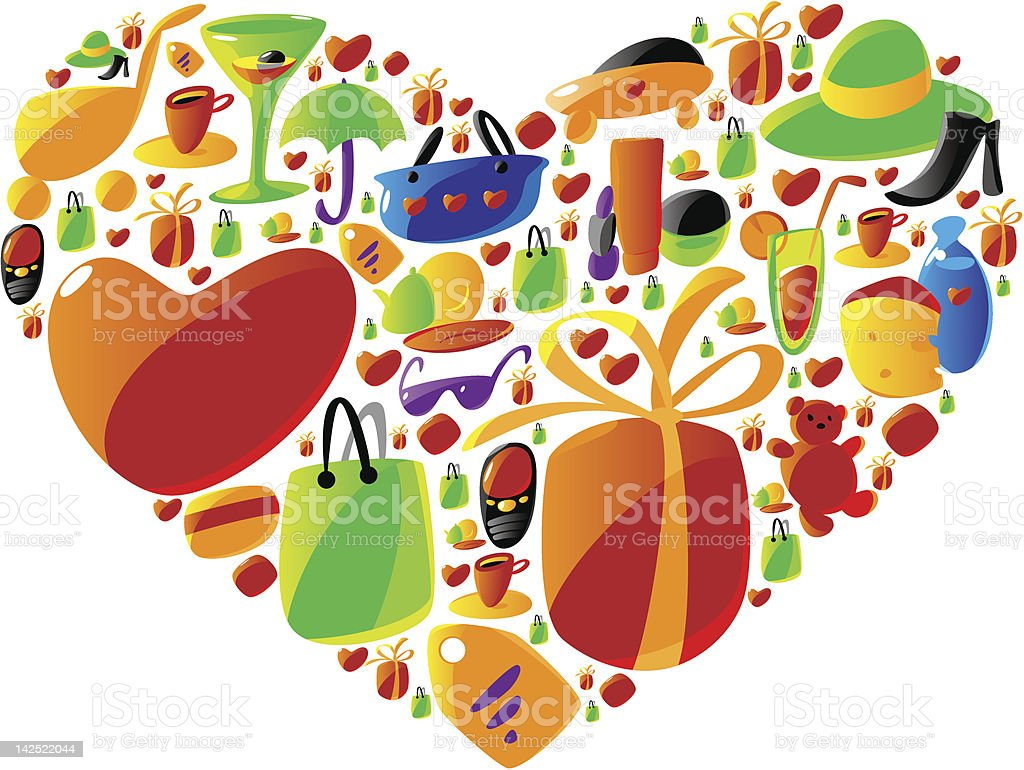 Ladies shopping icons in heart shape royalty-free stock vector art