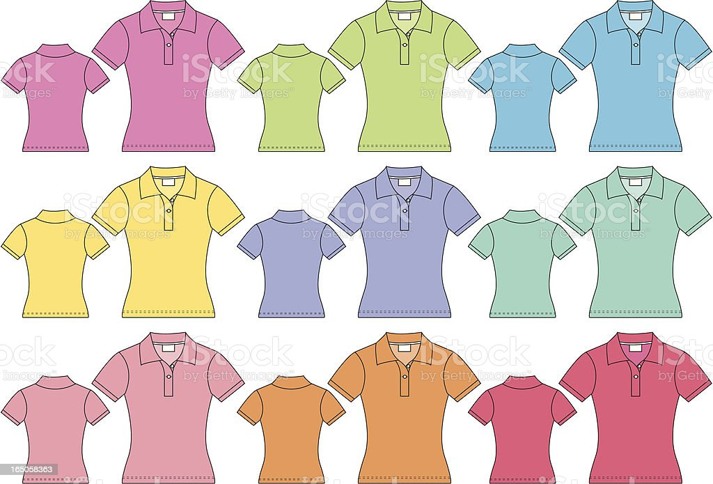 Ladies Short Sleeved Polo Pique Shirt Front & Back royalty-free stock vector art