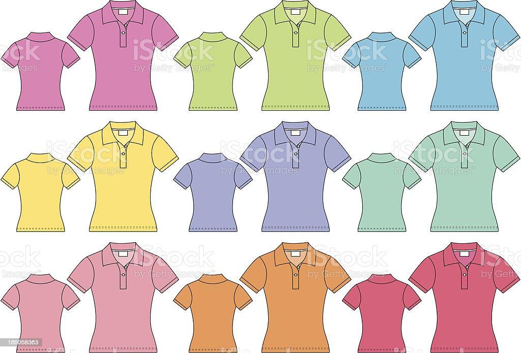 Ladies Short Sleeved Polo Pique Shirt Front & Back vector art illustration