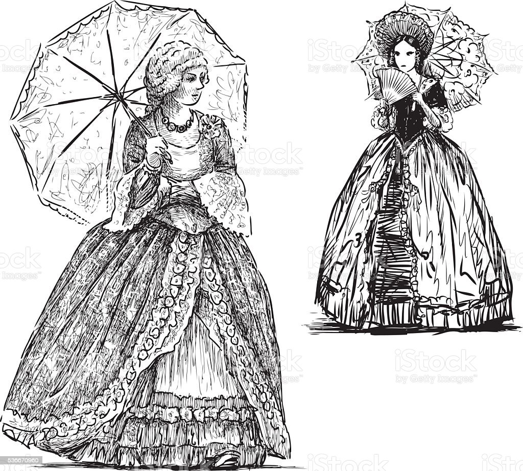 ladies with umbrellas vector art illustration