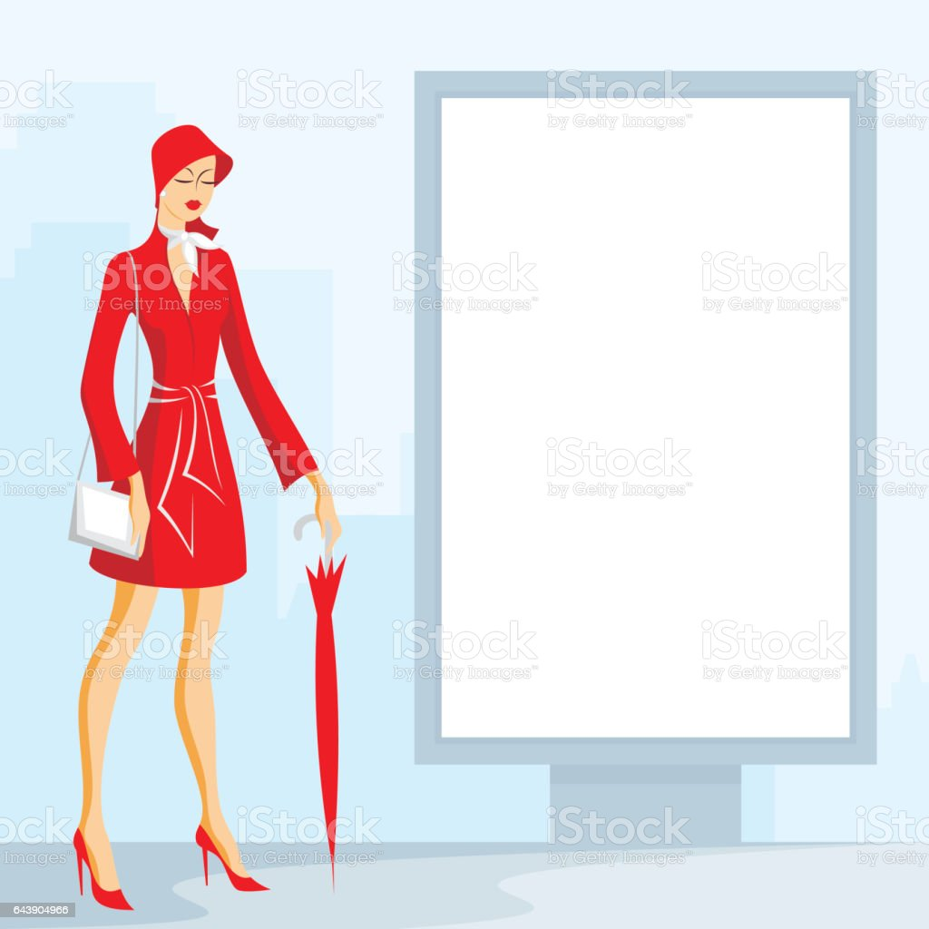 lady and city lightbox billboard vector art illustration