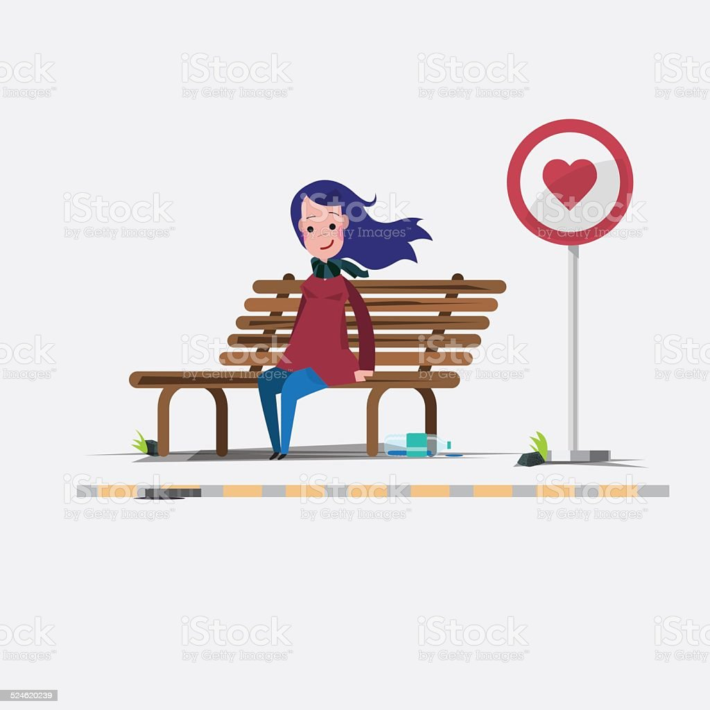 lady are waiting for love - vector illustration vector art illustration