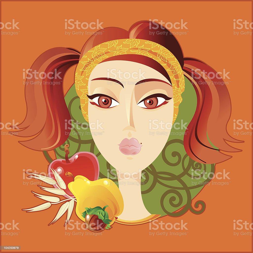 Lady Autumn royalty-free stock vector art