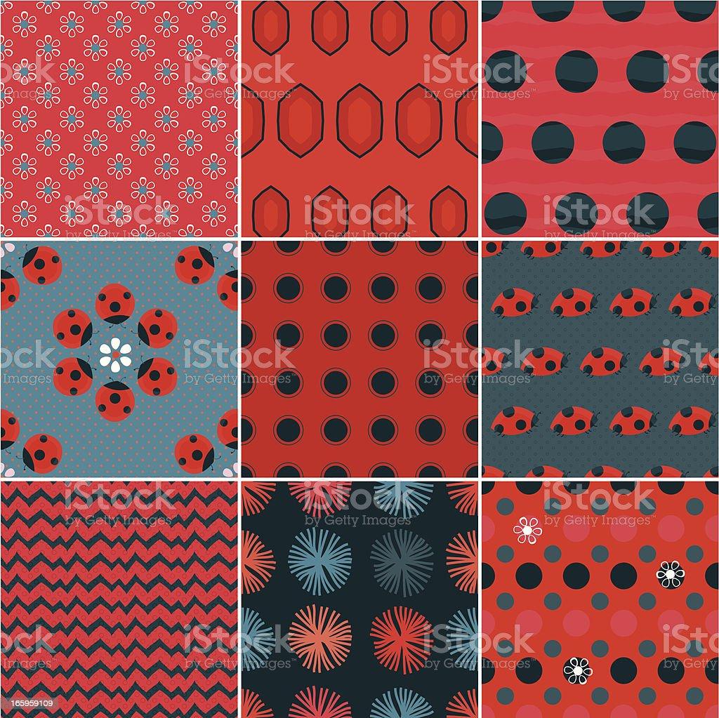 Lady Bug Patterns vector art illustration