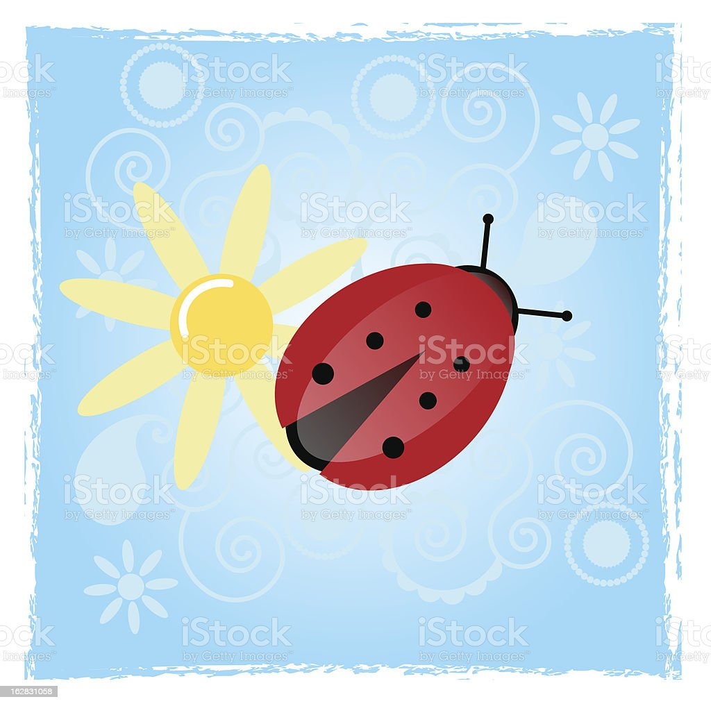 Lady bug with daisy royalty-free stock vector art