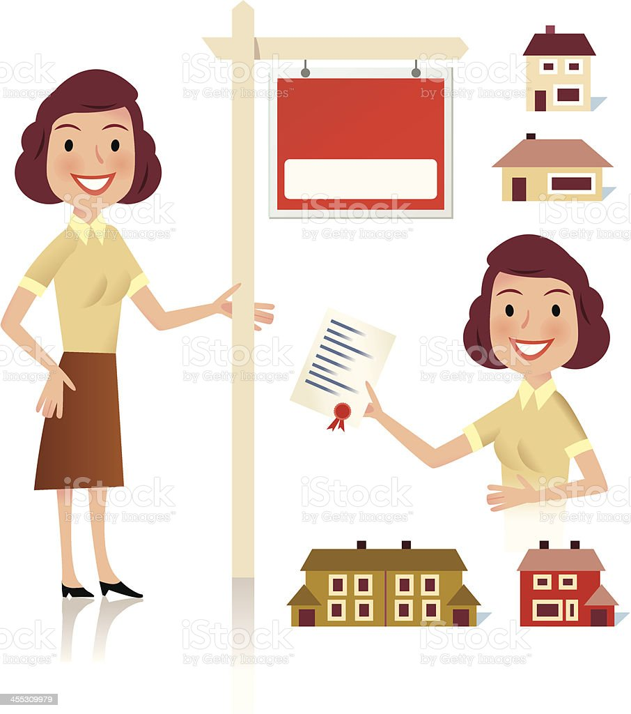 Lady buys a house royalty-free stock vector art