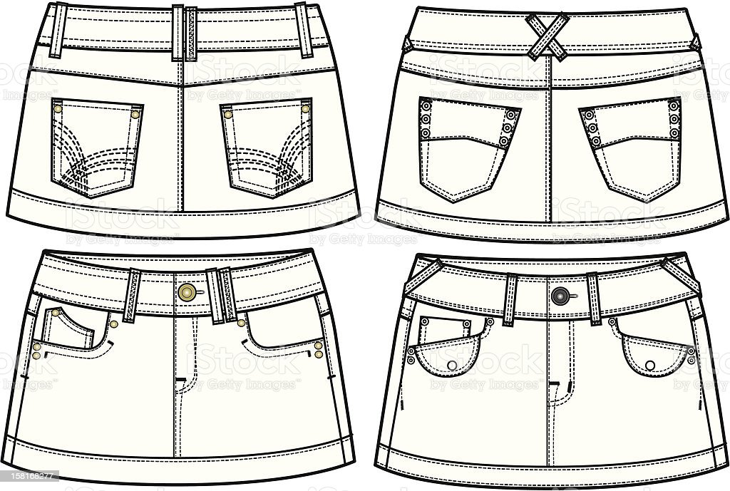 lady denim skirts vector art illustration