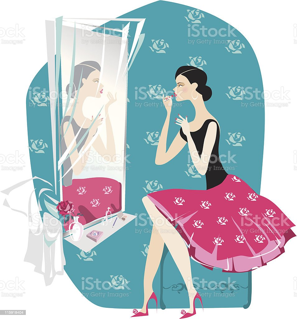 Lady doing make up royalty-free stock vector art