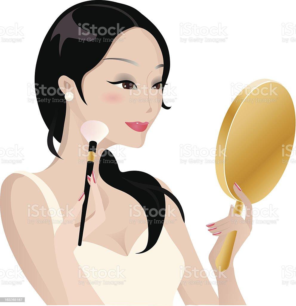 Lady doing makeup royalty-free stock vector art