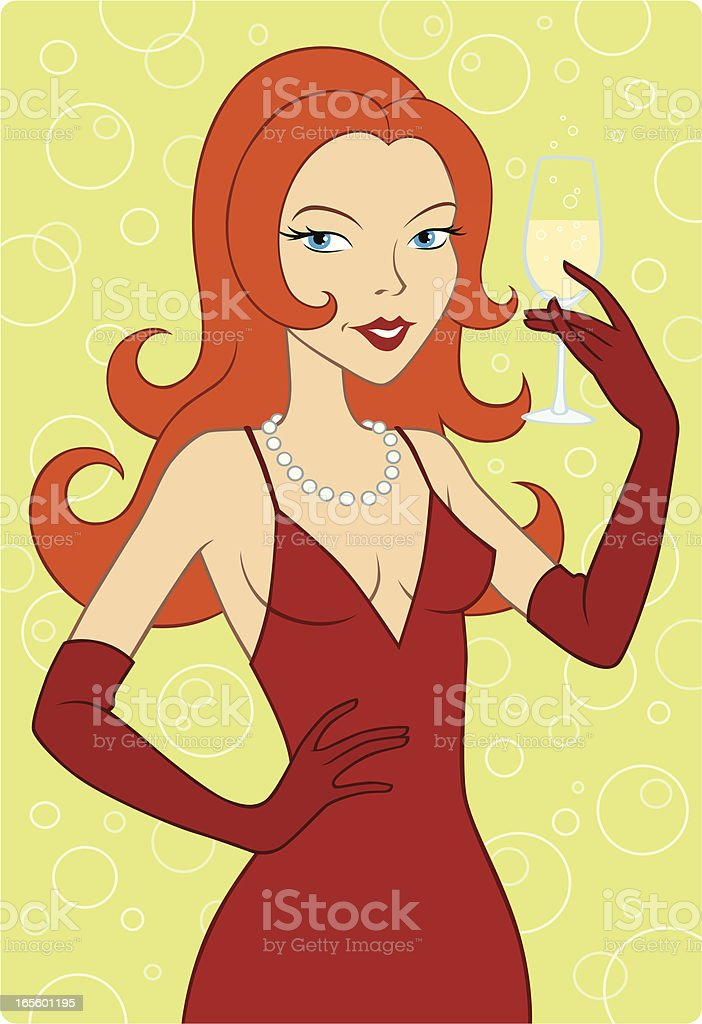 Lady Drinks Champagne royalty-free stock vector art