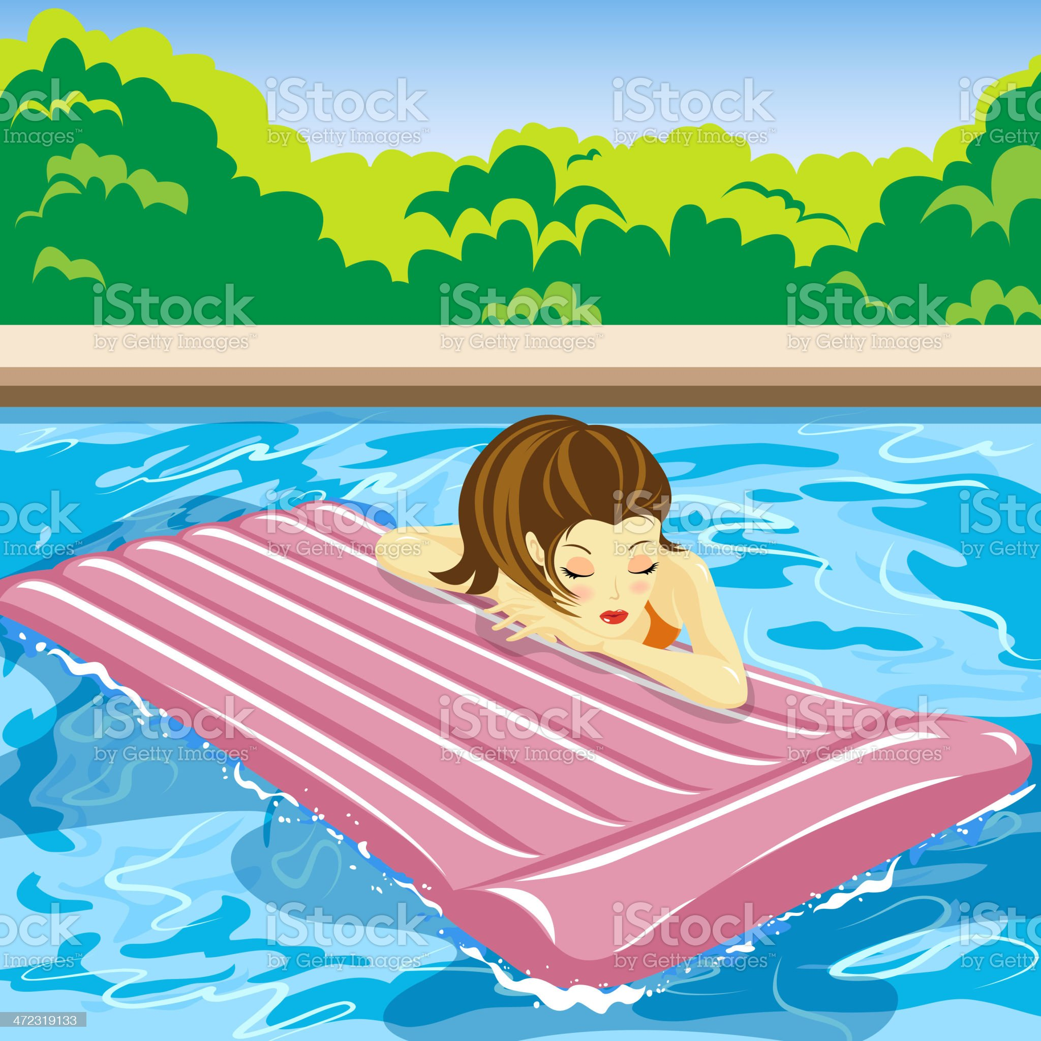 Lady Enjoying Summer with Inflatable Raft in Swimming Pool royalty-free stock vector art